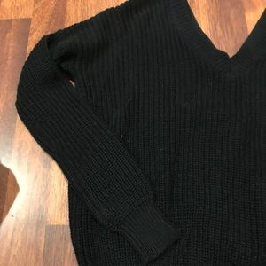 Black sweater with ties on back